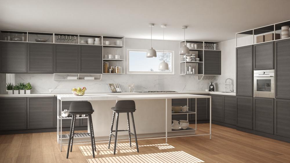 nowoczesna kuchnia w kolorze siwym